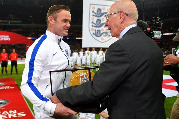 Wayne Rooneys presentation of 100th Honours Cap by Bobby Charlton