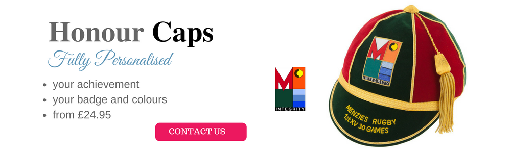 Home page slider image of Menzies Rugby Honours Cap with text